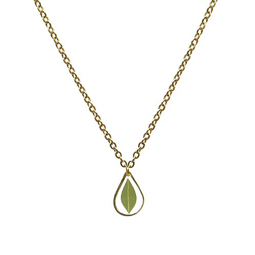 Eucalyptus Necklace ○ Dainty Teardrop