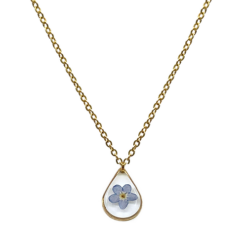 Blue Forget-Me-Not Necklace ○ Dainty Teardrop