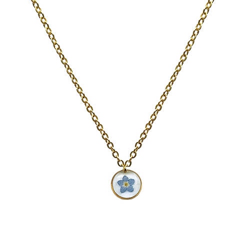 Blue Forget-Me-Not Necklace ○ Dainty Circle