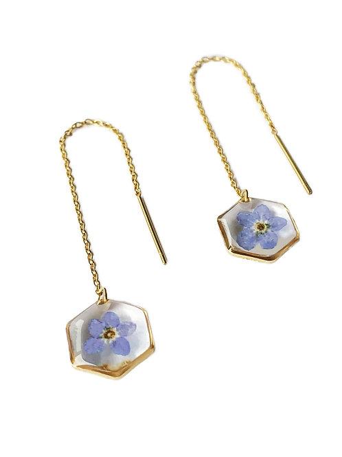 Blue Forget-Me-Not Hexagon Threader Earrings