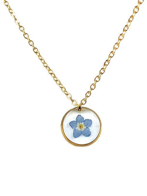 Blue Forget-Me-Not Circle Necklace