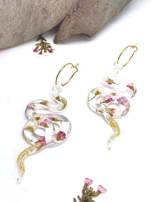 Wax Flower Snake Earrings