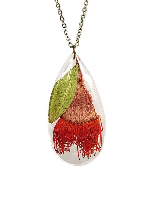 Red Flowering Gum Necklace ○ Teardrop