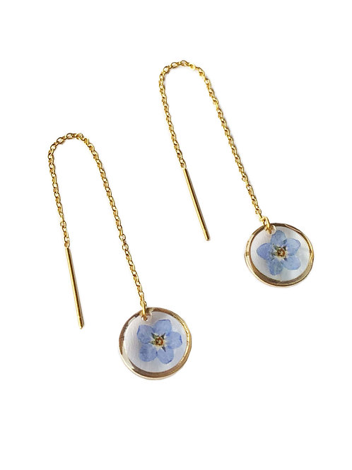 Blue Forget-Me-Not Circle Threader Earrings