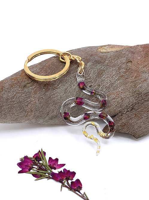 Purple Boronia Snake Key Ring