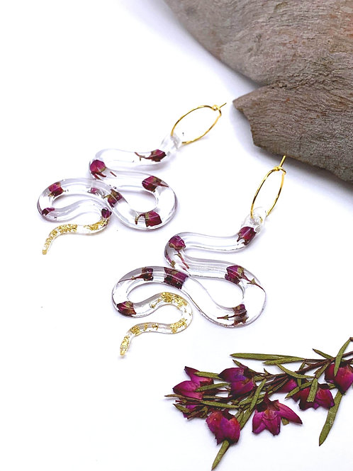 Purple Boronia Snake Earrings