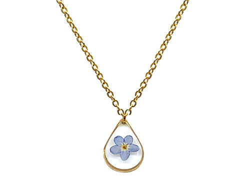 Blue Forget-Me-Not Teardrop Necklace