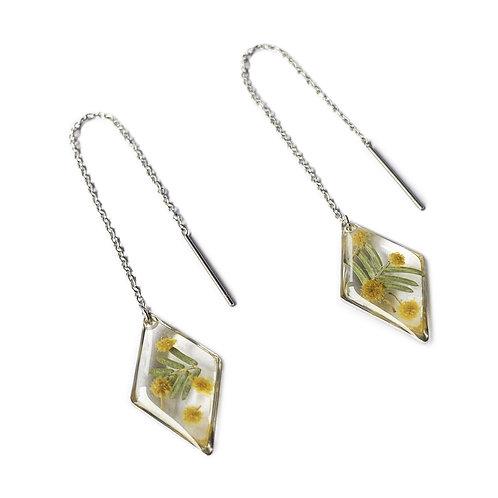 Wattle Threader Earrings ○ Dainty Diamond