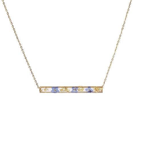 Blue Forget-Me-Not Threader Necklace ○ Bar