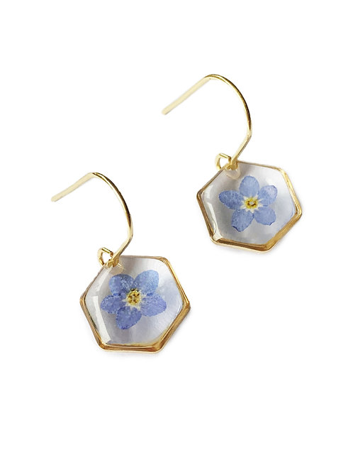 Blue Forget-Me-Not Hexagon Earrings