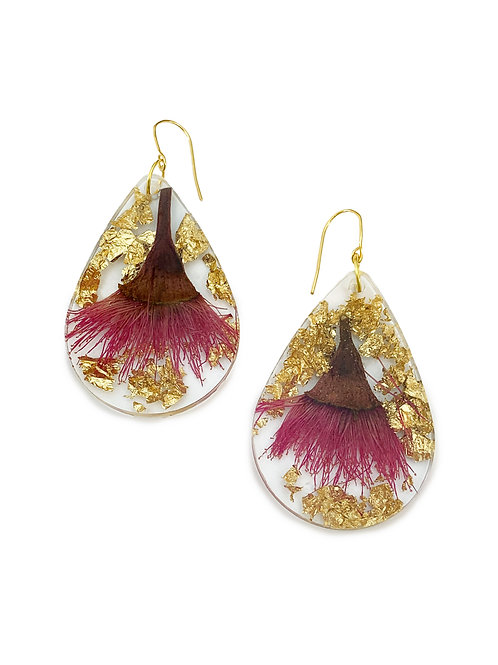Fuchsia Pink Flowering Gum Earrings with Gold Leaf