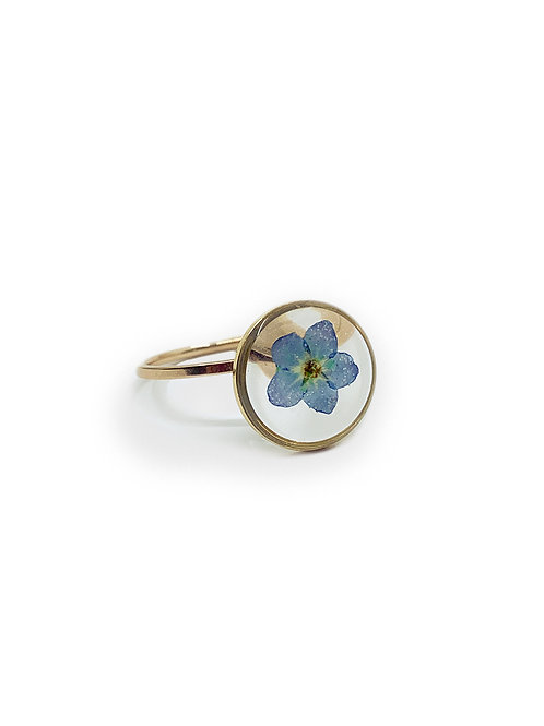 Blue Forget-Me-Not Ring ○ Dainty Circle