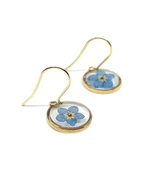 Blue Forget-Me-Not Circle Earrings