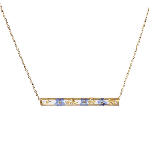 Blue Forget-Me-Not Bar Necklace