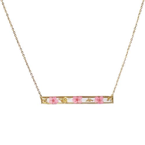 Pink Spirea Bar Necklace