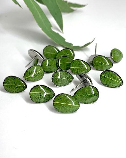 Eucalyptus Leaf Stud Resin Earrings.jpg