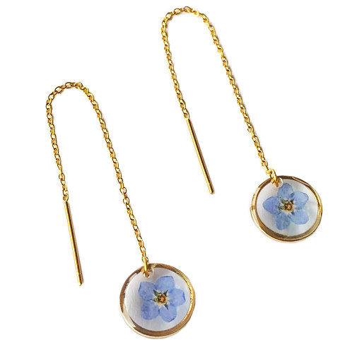 Forget-Me-Not Threader Earrings ○ Dainty Circle