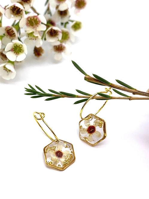 Wax Flower Hexagon Hoop Earrings