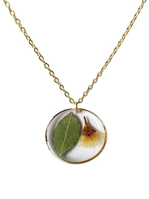 White Flowering Gum Circle Necklace