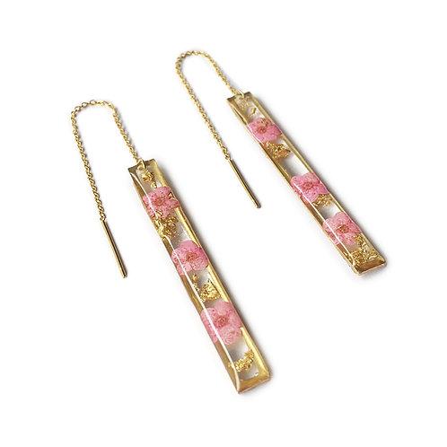 Pink Spirea Threader Earrings ○ Bars