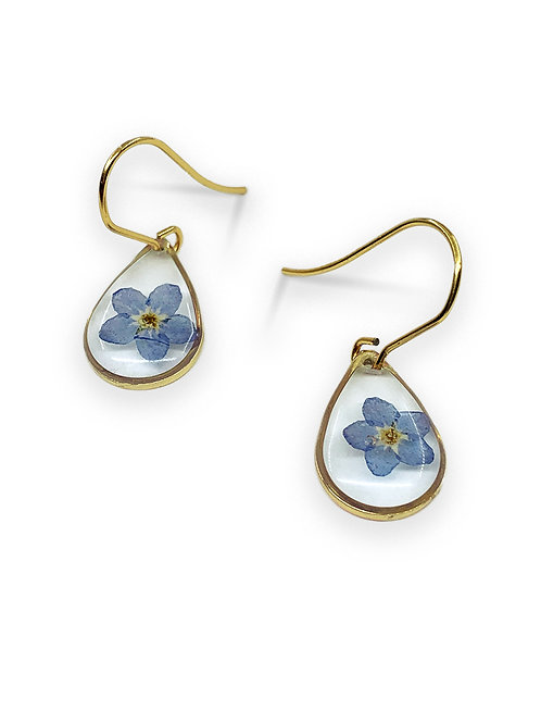 Blue Forget-Me-Not Earrings ○ Dainty Teardrop