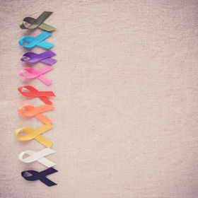 colorful ribbons, cancer awareness, Worl
