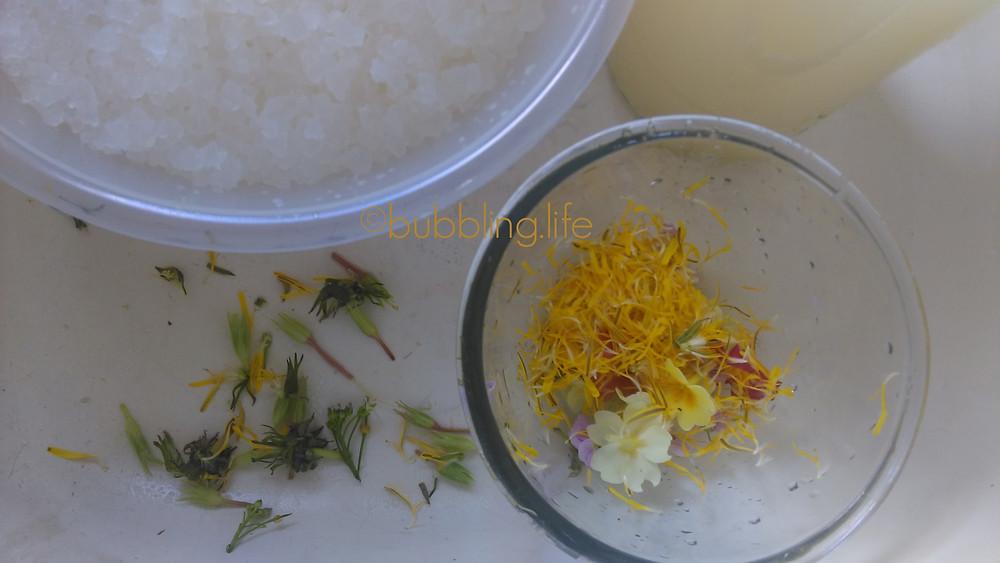 primrose dandelion and lady's smock petals in bowl