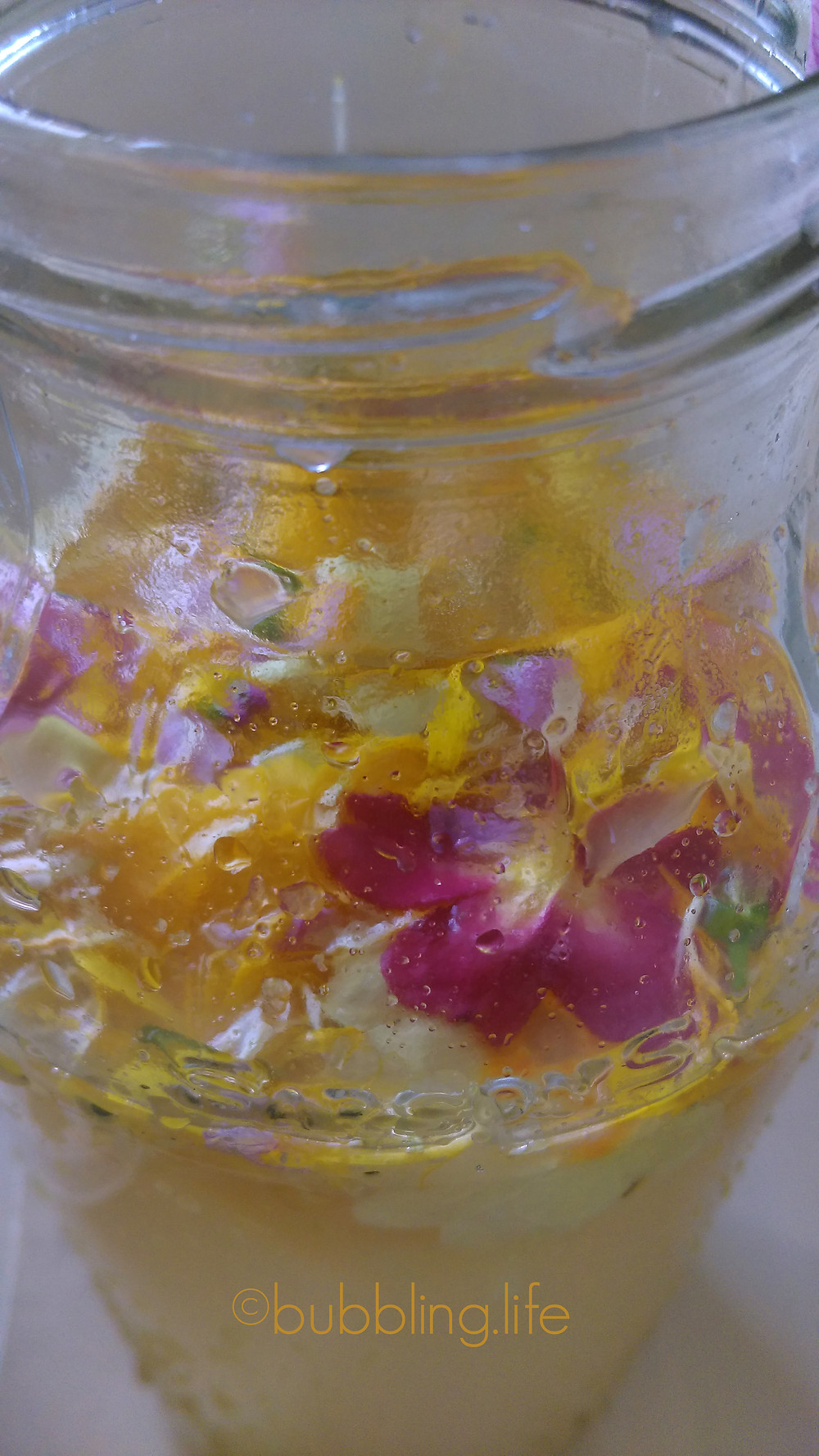 Gorgeous fizzy flower petal water kefir
