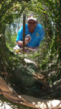 Sandy Sur sharing a kastom Fish Trap he made for Floating Land Festival 2015