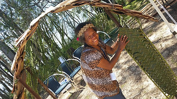 Kilagi sharing her PNG welcome arch at Floating Land Festival 2015