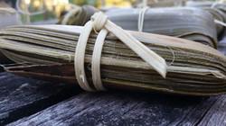 detail harvested pandanus leaves