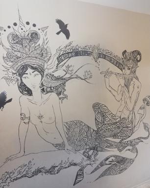 Wall Mural - mermaid and centaur