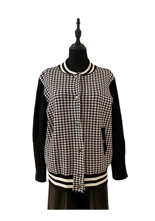 Knitted check Bomber