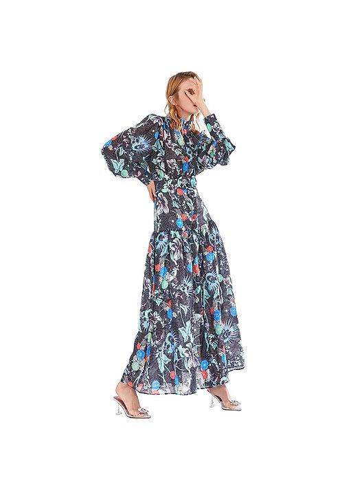 Exotic Flora Printed Long Dress