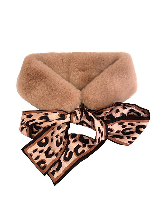 Faux Fur Collar With Silk Twill