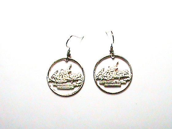 Hand Cut New Jersey Quarter made into Earrings