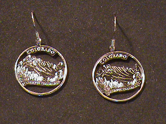 Hand Cut Colorado Quarters Made into Earrings