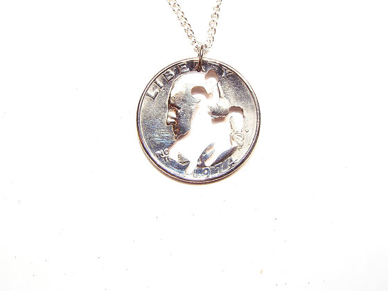 Hand cut Quarter with a Bucking Cowboy Necklace