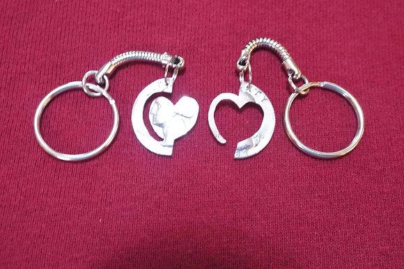 Interlocking Heart w/ring key chains
