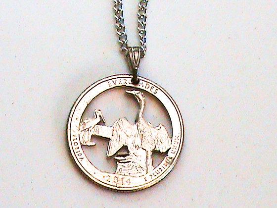 Florida Everglades Quarter Hand cut Necklace