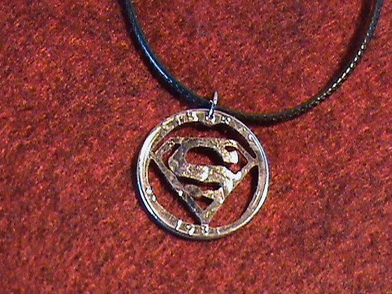 US Quarter cut with a superman theme