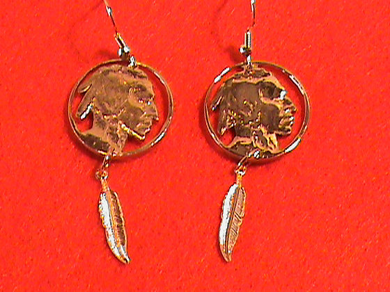 Indian Head Nickel Hand Cut Made into Earrings