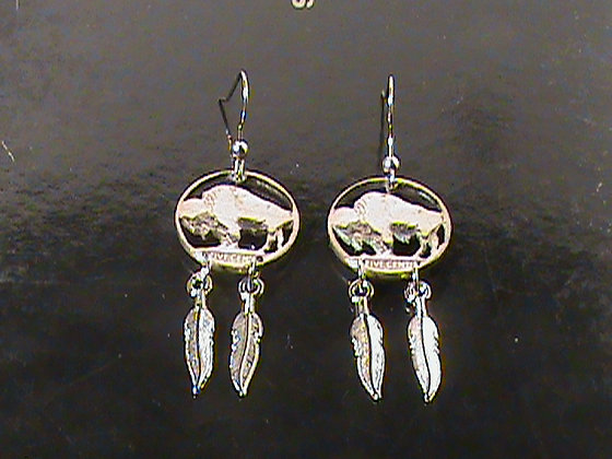 Buffalo Nickel with two feathers earrings