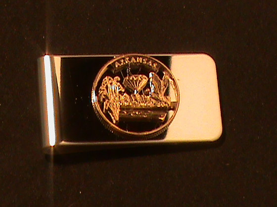 Arkansas stat quarter hand cut money clip