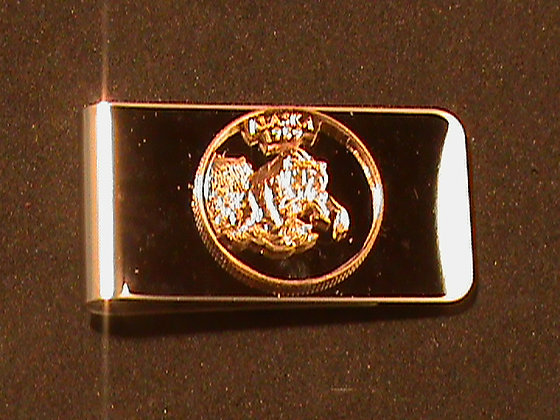 Alaska state quarter hand cut money clip