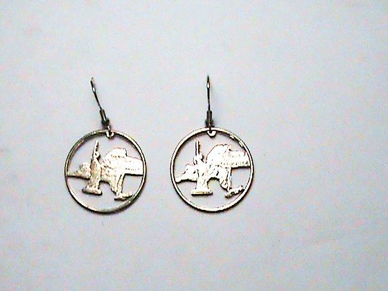 Hand Cut Massachusetts Quarters made Into Earrings
