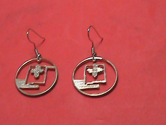 Hand Cut New Mexico Quarter Made into Earrings