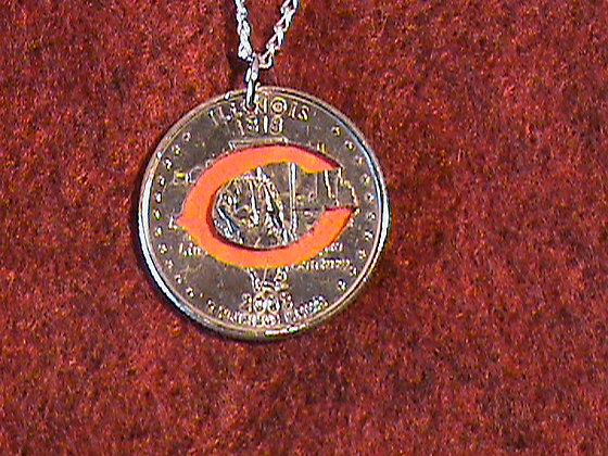 Hand cut Quarter with a Chicago Bears theme