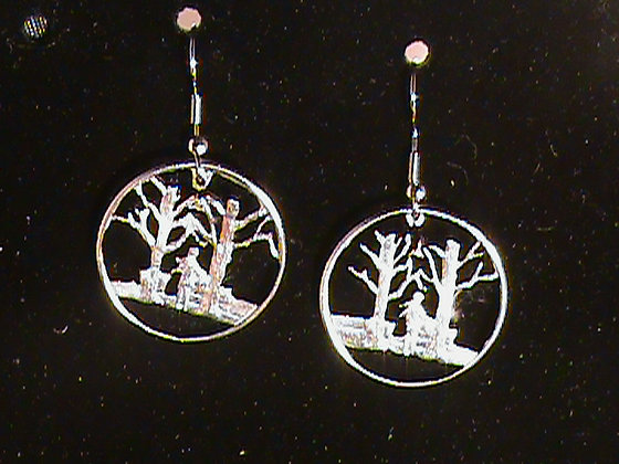 Vermont State Quarters  Cut Made into Earrings