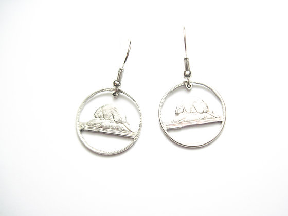Hand Cut Canada Nickel made into Earrings